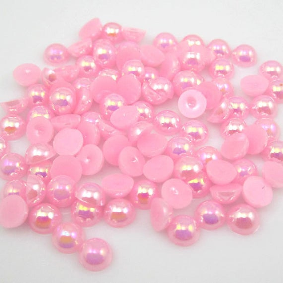 MajorCrafts® Light Pink AB Flat Back Half Round Resin Pearls C07