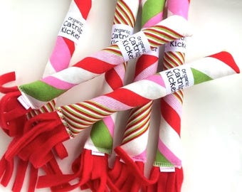 Candy Stripes Cat Toy | Bunny Kick Cat Toy | Organic Catnip Toys | Cat Kicker | Gift for Pet Lover | Gift for Cat | Candy Cane