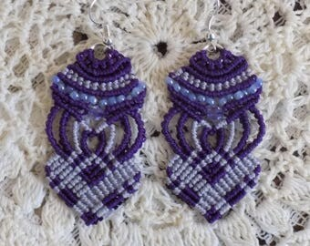 Beaded Micro Macrame Earrings  Purple