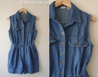 1990s St. John's Bay Jean Denim Sleeveless Romper w/ Pockets Size 12 M | Pleated Front Shorts