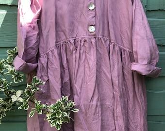 RITANOTIARA Georgia European Linen Prairie clover pink Oversized shirt OSFA Oversize MidWest Prairie Shabby Chic Boho Lagenlook long sleeves