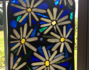 Stained Glass Mosaic Chamomile Panel Transom Window  OOAK