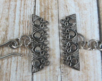 7 Strand Sterling Silver Clasp with Hearts