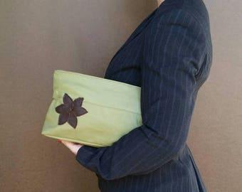 ON SALE Green Leather Bag, Fashion Purse with Flower, Trendy and Stylish Handbag Ivanka