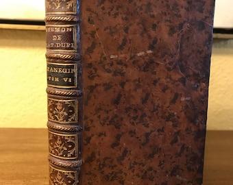 Antique Book, French Book, 1770, Antique French Book, Sermons by Jacques Francois Rene de Latourdupin, Leather Book, Paris