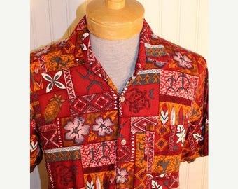 50% Off Sale Men's Vintage Paradise Gold Rayon Hawaiian Shirt Tribal Multi Color  Burgundy Orange White M