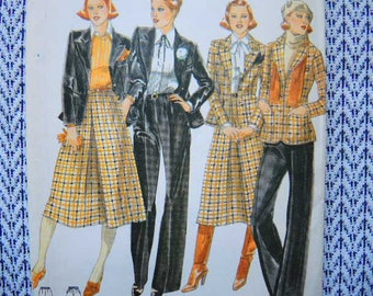 vintage 1980s Butterick sewing pattern 5565 misses jacket skirt and pants size 10 uncut