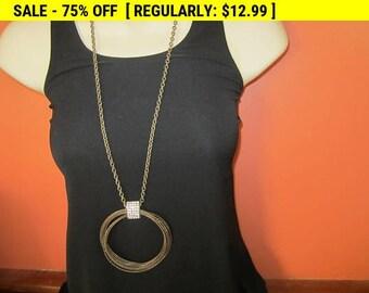 Vintage rhinestone pendant necklace, hippie, boho