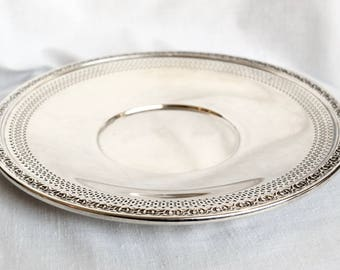 Vintage silver plate tray...Reed & Barton silver plate sandwich plate...openwork rim...lattice rim...1702.