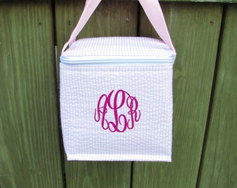 Small Seersucker Snack Bag - Insulated Snack Bag personalized or monogrammed, Great for baby and toddler - 3 colors -  FREE SHIPPING