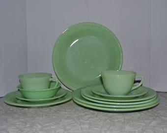 Fire King Jadeite Dinnerware Set ~ 11 piece set ~ Jane Ray Jadeite ~ Vintage Dinnerware Set ~ Mint Green ~ Epsteam