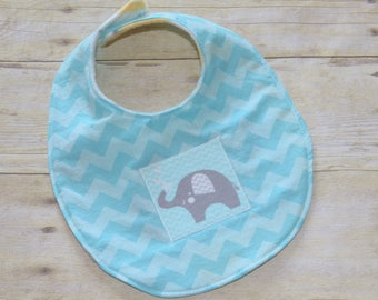Reversible Little Elephant Series  Chevron Baby Bib