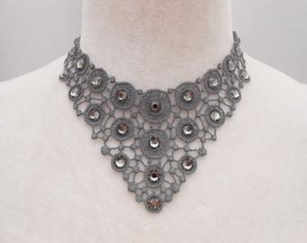 Grey lace necklace with Swarovski Crystal rhinestones