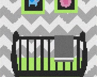 Needlepoint Kit or Canvas: Grey Chevron Uni Baby Crib
