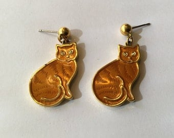 Orange Cat Earrings Enamel