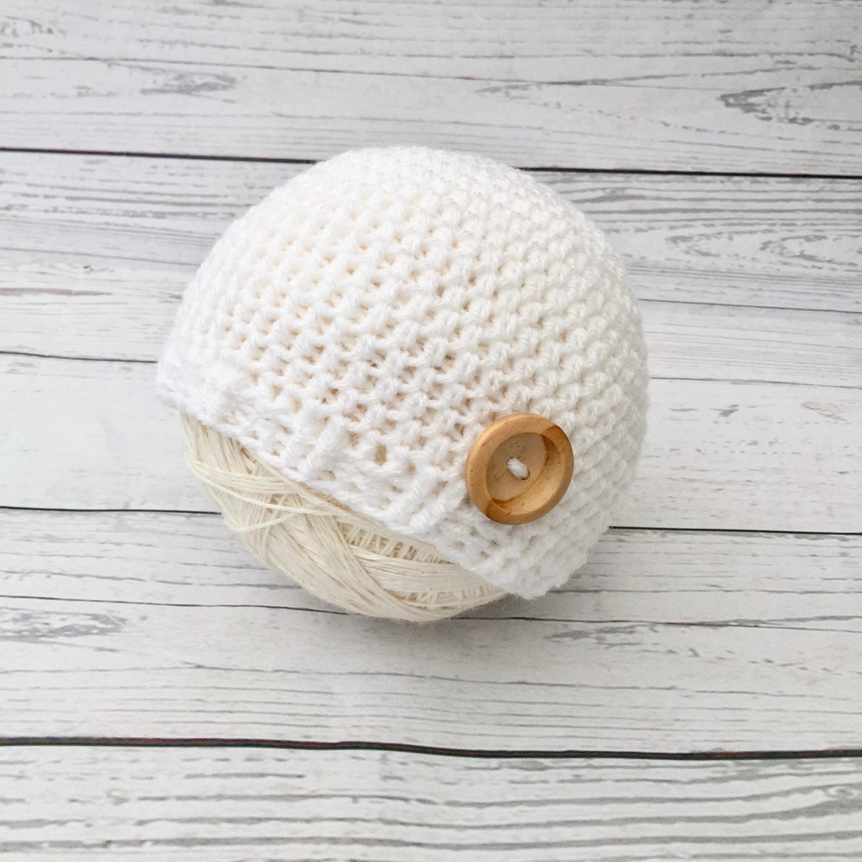 white crochet baby hat, winter baby beanie, gender neutral crochet ...