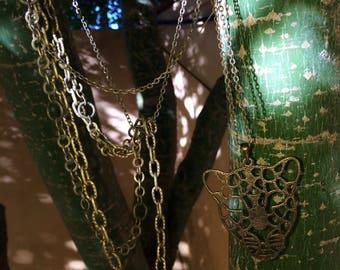 Handmade Cheetah Multistrand antique brass boho necklace