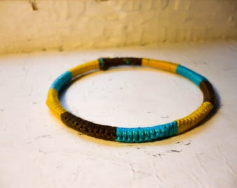 Bangle// Tri-Color Blue/Yellow/Brown