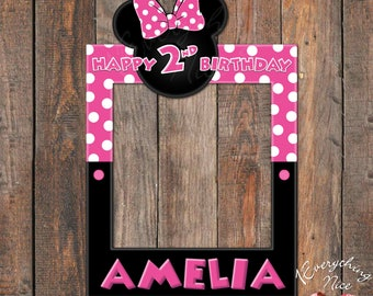 """Minnie Mouse Pink 24"""" x 36""""  Happy Birthday Photo Booth Frame Digital Download"""