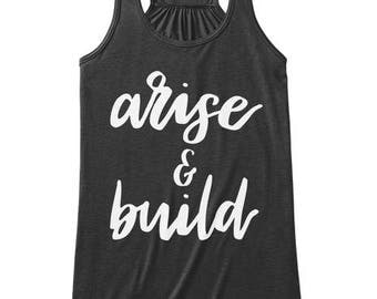 Arise and Build, Faith Scripture Tank Top, Women Workout Apparel, Illustrated Faith Christian T-shirt, Fitness Gift for Her
