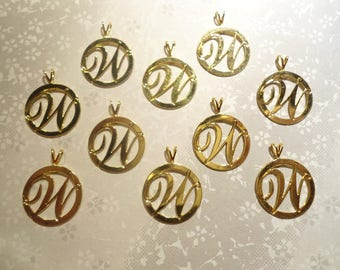 10 Goldplated Letter W Pendants Charms