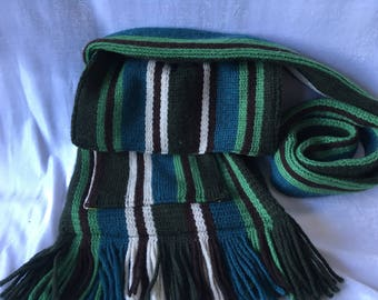 Stripey Green/Brown Upcycled Scarf Bag