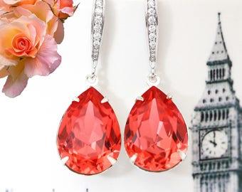 Swarovski Earrings Dark Peach Earrings Coral Earrings Padparadscha Crystal Earrings Bridesmaid Earrings Bridal Earrings  Drop Earring PAD31H