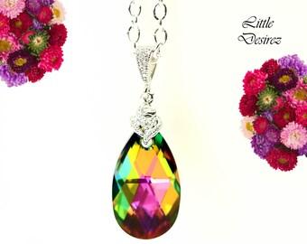 Vitrail Medium Necklace Swarovski Crystal Teardrop Pendant Sparkly CubicZirconia Pink Green Necklace BridesmaidNecklace Rhodium Plated VM32N