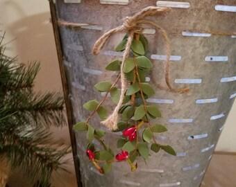 Olive Basket Farmhouse Basket Christmas Holiday Decor