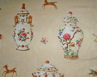 TRAVERS PORCELAIN VASES Tureens TeapotsGlazed Cotton Linen Toile Fabric 12 Yards Multi Cream Red Blue Multi