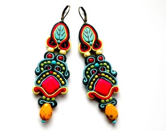 Soutache Earrings, Handmade Earrings, Hand Embroidered, Soutache Jewelry, OOAK, Reggae