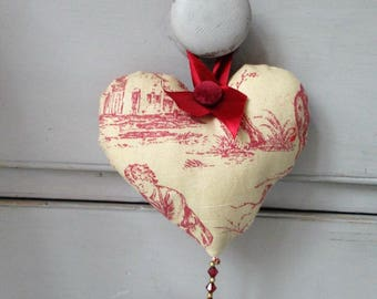 Red Toile de Jouy Lavender Heart.  Valentine Heart.  Decorative Heart