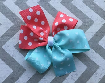 Coral and Aqua Hair Bow