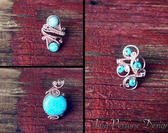 Rose Gold Ring Wire Wrapped Turquoise Ring Bohemian Midi Ring Adjustable
