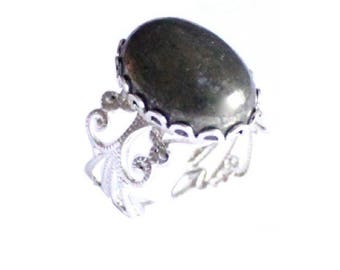 Baby Doll Pyrite ring - plated silver