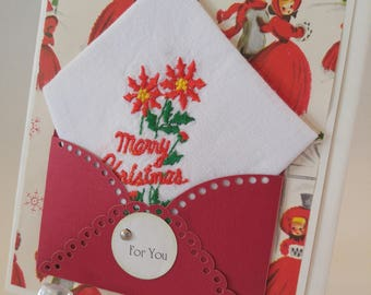 Christmas In July Handkerchief Poinsettia Holly Berries Vintage Embroidered Merry Christmas Keepsake Teacher Friend Gift Hankie Card