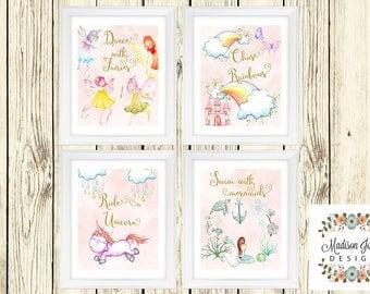 Fairy, Rainbow, Unicorn and Mermaid GIRL WALL ART - Wall Decor - Digital Printable Instant Download - Fairies, Rainbows, Unicorns & Mermaids