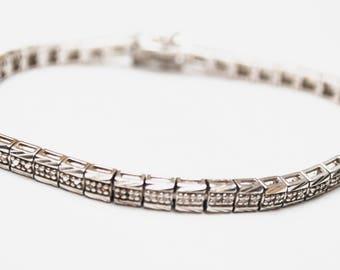 STerling Melee Diamond marcasiteTennis Bracelet -  Silver box link bracelet