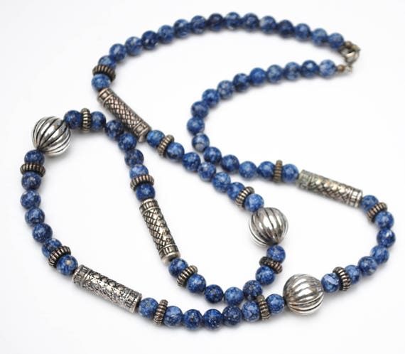Sodalite Silver bead necklace - blue white gemstone - silver plated beads - Boho India style 30 inches