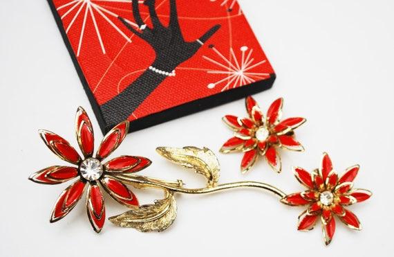 Enamel  Flower Brooch earring set - orange red gold metal - Clear Rhinestone - Mid Century
