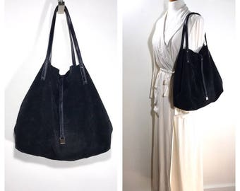 Black Leather Tiffany and Company Hobo Bag Vintage Leather and Suede Reversible Shoulder Bag Large Carryall Satchel