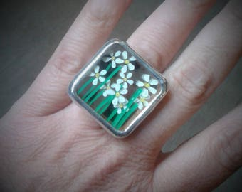 """Ring """"Daisy"""" - large - recycled glass"""