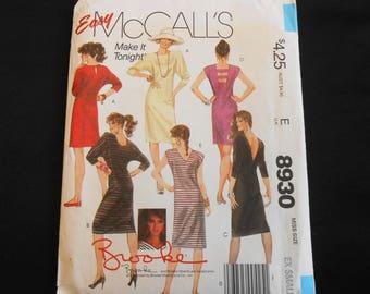 "McCall's Pattern 8930 sz XS 6-8 Brooke Shields Design Adult Woman Knit Dress Deep Back Neckline Options Ladder Back Uncut FF Bust 30.5-31.5"""