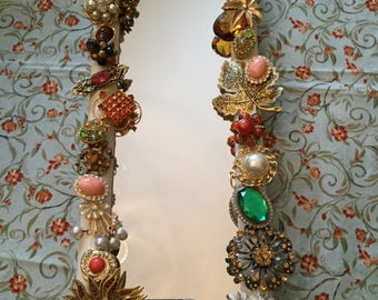 "13"" x 5""-Table Top/Wall Mirror-Handmade Embellished Jeweled/Jewelry/Brooch/Earring Wall Hanging Decorative Statement Piece"