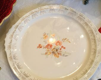 Mid Century French Saxon China-Ivory Tabbed  Serving Platter/Tray/Cake Plate Floral  Spray