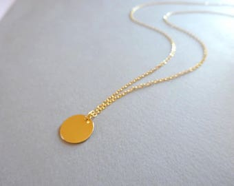 Long Gold Necklace, Gold Disc Necklace, Gold Jewelry Dainty Gold Necklace, Disc Necklace Delicate Simple Necklace, Delicate Gold Necklace