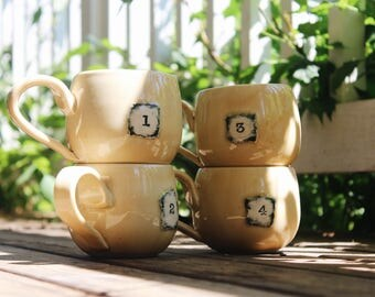 Set of FOUR 16 oz Numbered Coffee Mugs in Chamois
