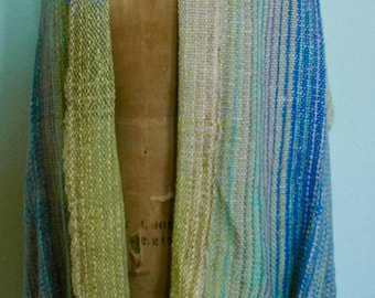 "Art-to-Wear Hand Woven and Hand Dyed Yarn Rectangular Shawl - """"Lilac and Sage"""