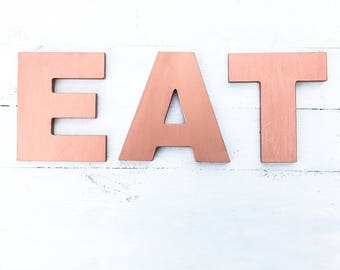 EAT sign - eat letters - kitchen wall decor - copper eat sign - copper kitchen decor - kitchen eat letters - copper eat letters - eat decor