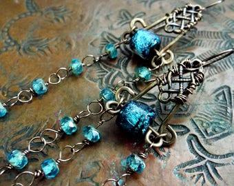Turquoise Blue Basha Bead and Aqua Czech Glass Earrings The Romantic Gypsy Long shoulder dusters
